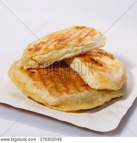 Fried Potato Pies. Patties With Dill. Cheap Recipe For Homemade Fried Pies On A White Background. Si