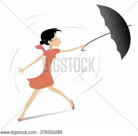 Windy And Rainy Day And Woman With Umbrella Illustration. Pretty Young Woman Holds An Umbrella Isola