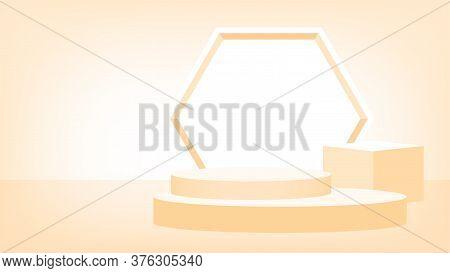 3d Stage Pedestal Light Orange, Podium Stage Show For Product Display Or Presentation