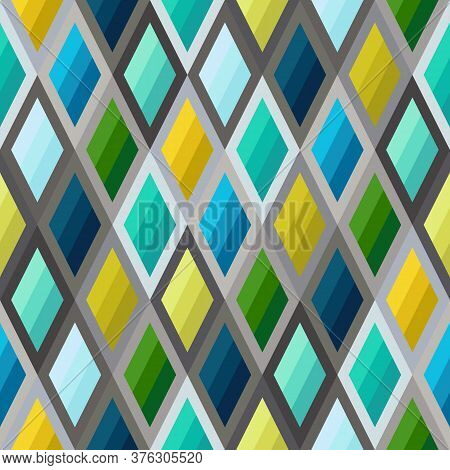 Geometric Seamless Pattern Of Striped Rhombuses Of Blue, Green, Mint, Yellow Colors. Continuous Symm