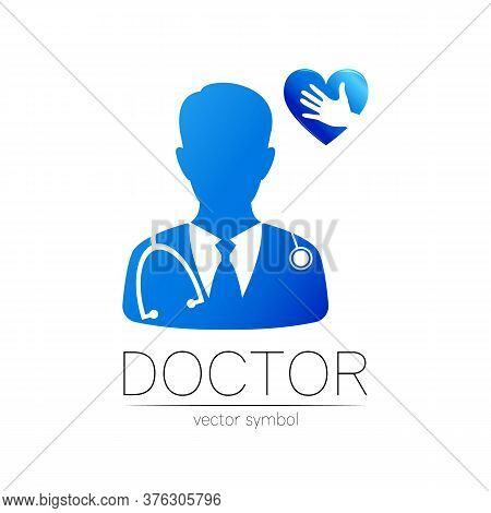 Doctor Vector Logotype With Heart And Hand In Blue Color. Silhouette Medical Cardiologist Man. Logo