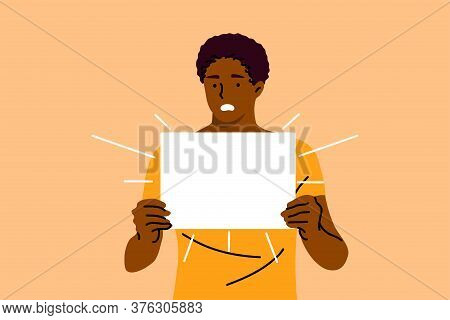 Protest, Activism, Discrimination, Banner Concept. Young Serious African American Man Guy Activist P