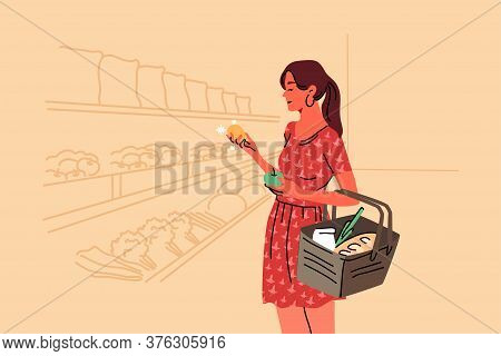 Shopping, Sale, Coice, Store, Buy Concept. Young Woman Buyer Consumer Customer Character Choosing Fo