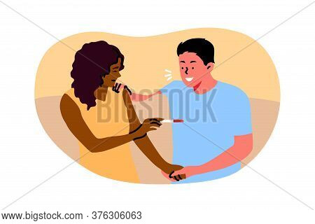 Couple, Pregnancy, Motherhood, Atherhood, Happiness Concept. Young Pregnant Woman Girlfriend Showing
