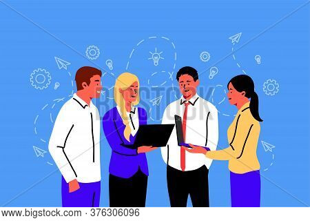 Meeting, Coworking, Teamwork, Business Concept. Team Business People Businesswomen Coworkers Men Cle