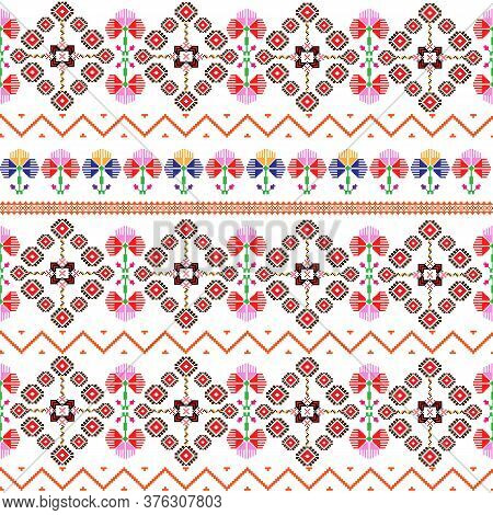 Seamless Pattern Inspired By Romanian Folk Traditional Embroidery; Colorful Design Pixel Art With Tr