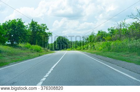 Turn Of The Highway Among Plants.turn Of The Highway Among Plants