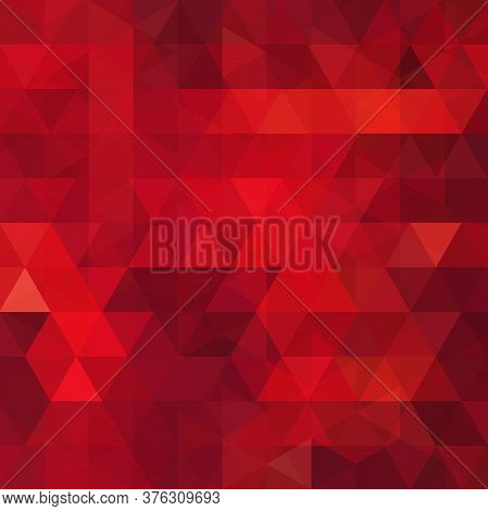 Abstract Red Mosaic Background. Triangle Geometric Background. Design Elements. Vector Illustration