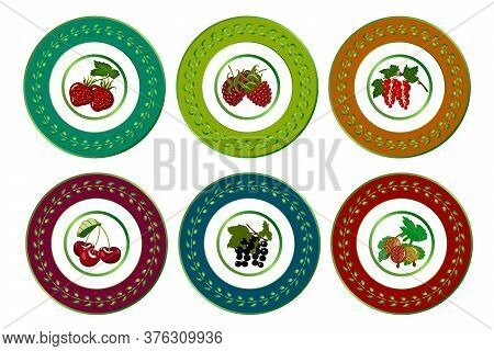 Vector Set Of Plates With Design.bright Berries In The Color Design Of The Author's Plate Set.