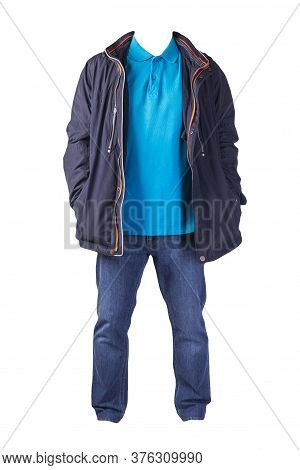 Dark Blue Jacket With Zipper, Blue Shirt And Blue Jeans Isolated On White Background. Casual Fashion