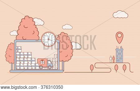 Online Shopping And Fast Delivery Vector Cartoon Outline Illustration. Shopping Truck With Purchases