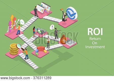 3d Isometric Flat Vector Concept Of Return On Investment, Roi, Digital Marketing