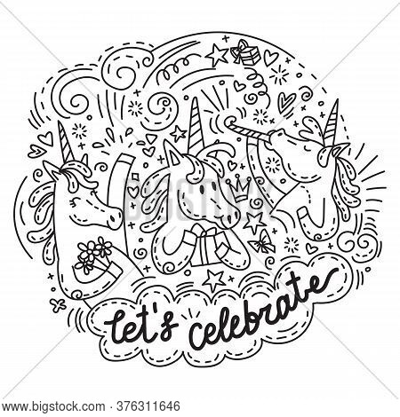 Very Funny And Happy Celebrating Unicorns. Vector Humor Character In Doodle Style. For Stickers, Des