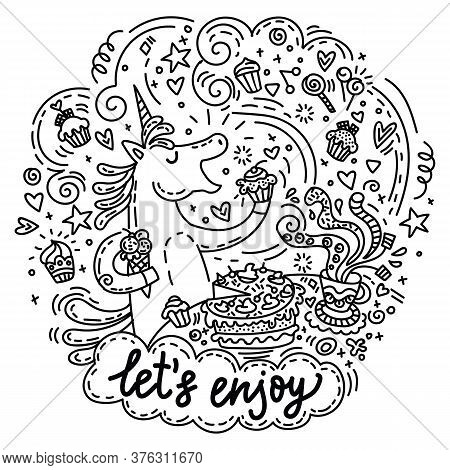 Funny Cute Unicorn In Good Mood Enjoy Eating A Cake And Candy. Vector Humor Character In Doodle Styl