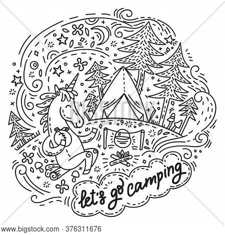 Funny Cute Unicorn In Good Mood Enjoy Camping. Vector Humor Character In Doodle Style. Monochrome Is