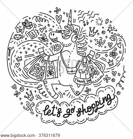 Funny Cute Unicorn Is Happy To Bought A Lot Of Purchases. Vector Humor Character In Doodle Style.let