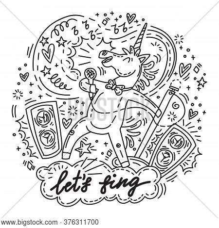Funny Cute Unicorn Enjoy To Sing Into The Microphone. Let's Sing.vector Humor Character In Doodle St