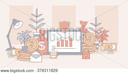 Investing Application Vector Cartoon Outline Illustration. Laptop Screen With Rising Bar Graph, Gold