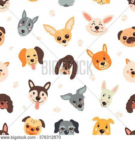 Pattern, Dogs, Cartoony, Childish, Funny. Vector Seamless Background