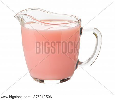 Milk Fruit Drink With Strawberry Juice In Transparent Glass Pitcher Isolated On White Background