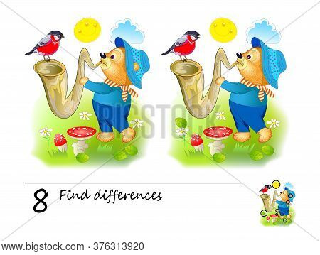 Find 8 Differences. Logic Puzzle Game For Children And Adults. Printable Page For Kids Brain Teaser