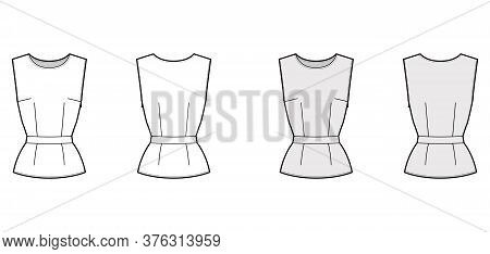 Belted Top Technical Fashion Illustration With Round Neck, Sleeveless, Fitted Body, Side Concealed Z