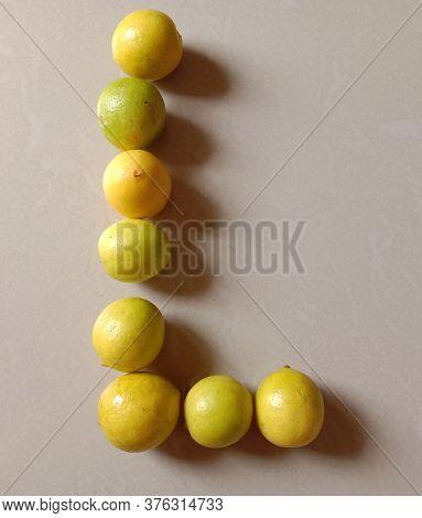 Juicy Lemon Rich In Vitamin C And Creative L Font