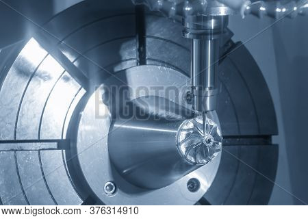 The  5 Axis Cnc Milling Machine Cutting The Turbine Blade Parts With Solid Ball End-mill Tools. The