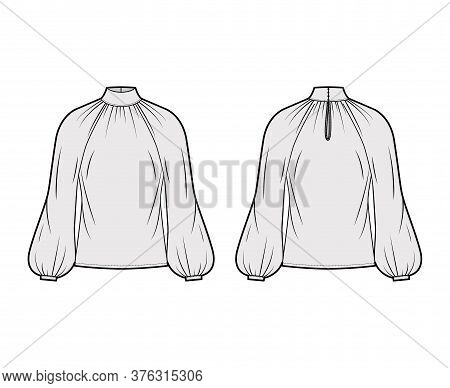 High-cut Neck Blouse Technical Fashion Illustration With Long Bishop Sleeves, Loose Fit, Button-fast