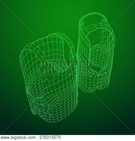 Police Flak Jacket Or Bulletproof Vest. Bullet Proof Concept. Wireframe Low Poly Mesh Vector Illustr