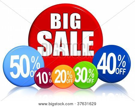 Big Sale And Different Percentages In Color Circles