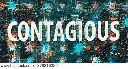 Contagious Theme With Night Cityscape And Floating Viruses
