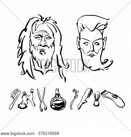Man's Face Before And After Barber Shop And Set Of Hair Care Items,  Scissors, Trimmer, Razor, Hairb