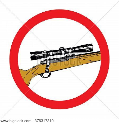 Hand-drawn Sniper Rifle With Telescopic Sight. Vector Art