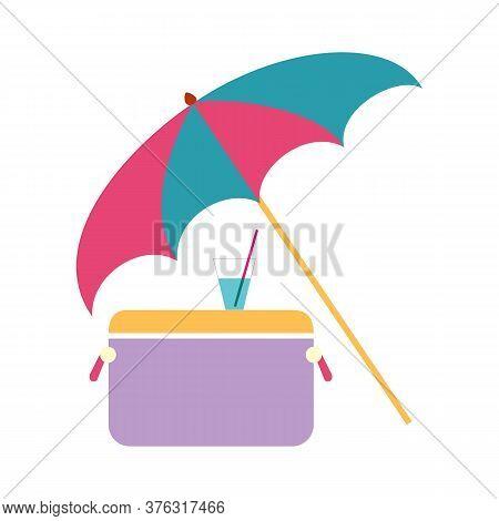 Concept Sea Vacation, Umbrella, Refrigerator And Cool Cocktail Vector Illustration