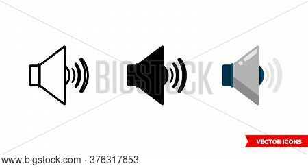Volume Icon Of 3 Types. Isolated Vector Sign Symbol.
