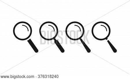 Magnifier Icons Set. Search Loupe Lens. Isolated Zoom Tool. Magnifying Glass Inspect Instrument. Opt