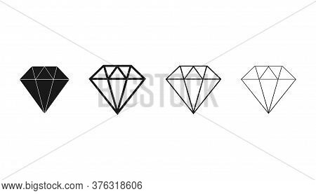 Diamond Jewelry Icons. Brilliant Gemstone In Outline Black Color. Expensive Luxury Gem. Isolated Tre
