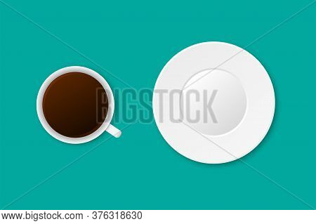 Realistic Cup Of Coffee And White Plate. Classic Latte With Empty Saucer. Isolated Morning Illustrat