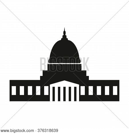 Washington Capitol With Tall Columns Black Monochrome Silhouette Isolated.
