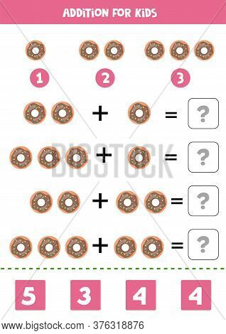 Addition With Cartoon Donuts. Math Game For Kids.