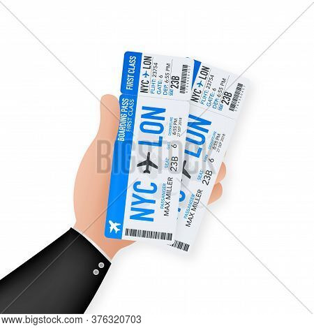 Airline Boarding Pass Tickets To Plane For Travel Journey. Airline Tickets. Vector Stock Illustratio