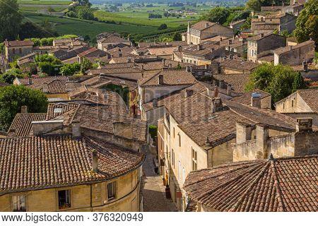Saint Emilion, France - August 12, 2019: view of saint emilion, in aquitaine, france