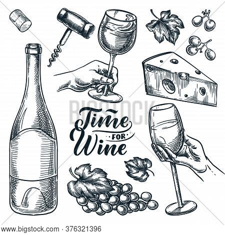 Time For Wine Vector Hand Drawn Sketch Illustration. Human Hand Holding Wine Glass. Doodle Vintage D
