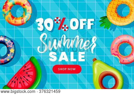 Summer Sale Banner Design Template. Inflatable Floating Colorful Toys In Swimming Pool, Top View Vec