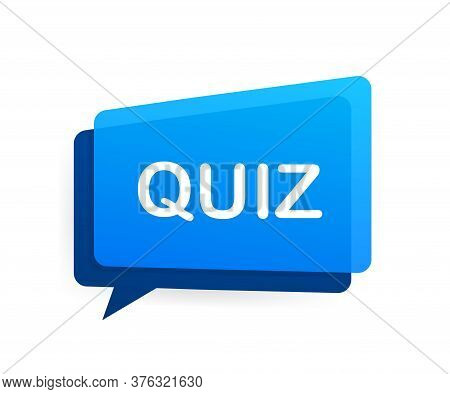Quiz Logo With Clock, Concept Of Questionnaire Show Sing, Quiz Button, Question Competition. Vector