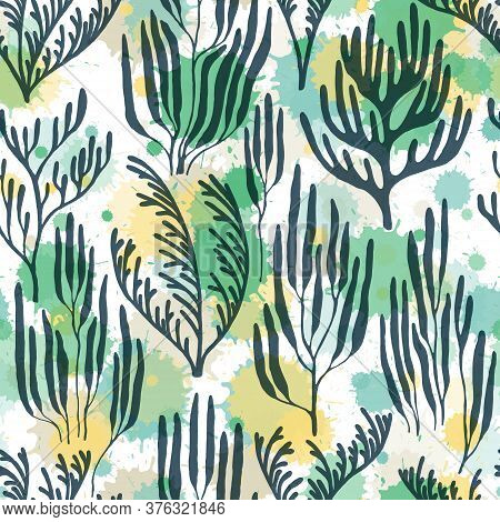 Ocean Corals Seamless Pattern. Paint Splashes Drops Watercolor Background. Australian Staghorn And P