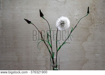 Creamy Fluff On Grunge Beige Background, Arranging In A Vase