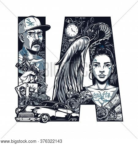 Vintage Chicano Tattoo Concept With Latino Man Beautiful Girl With Angel Wings Snake Money Retro Car