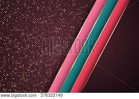 Gold Halftone Dots And Inclined Ribbon Stripes Banner Vector Design. Glossy Poster Background Templa
